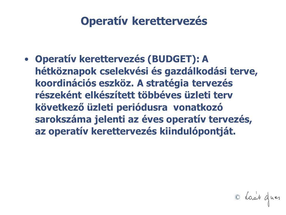 © Operatív kerettervezés •Operatív kerettervezés (BUDGET): A hétköznapok cselekvési és gazdálkodási terve, koordinációs eszköz. A stratégia tervezés r