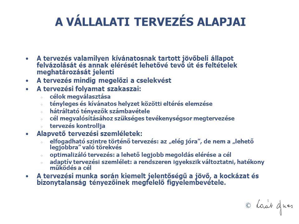 © Folyamatos tervezés + előrejelzés: megváltozik az erőforrás-elosztás rendje Forrás: Tiirnitz Tamás á Krekő István: A hagyományos kerettervezésen túl (BCE előadás, 2005.