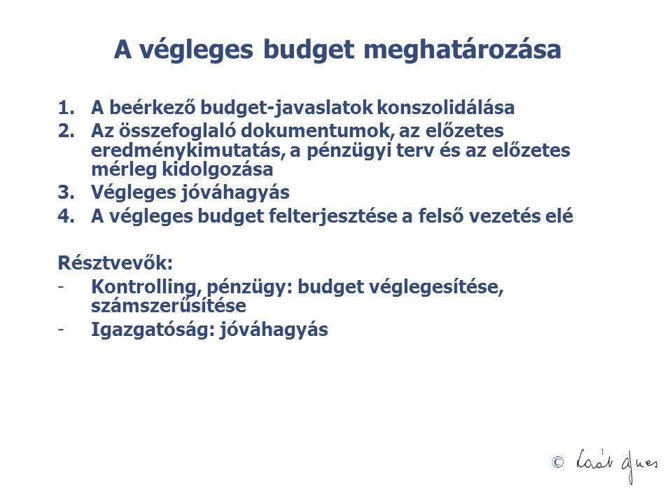 © A végleges budget meghatározása 1.A beérkező budget-javaslatok konszolidálása 2.Az összefoglaló dokumentumok, az előzetes eredménykimutatás, a pénzü