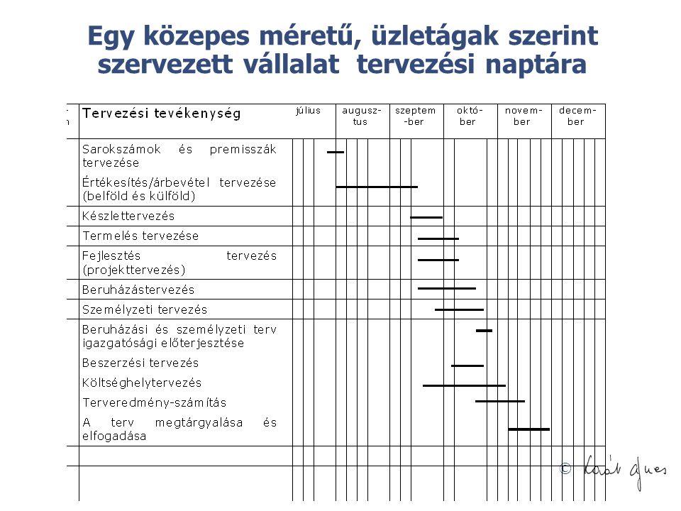 © Egy közepes méretű, üzletágak szerint szervezett vállalat tervezési naptára