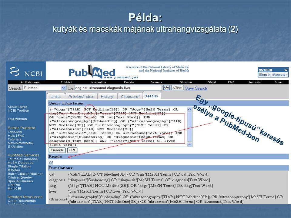 """Példa: kutyák és macskák májának ultrahangvizsgálata (2) Egy """"google-típusú keresés esélye a PubMed-ben"""
