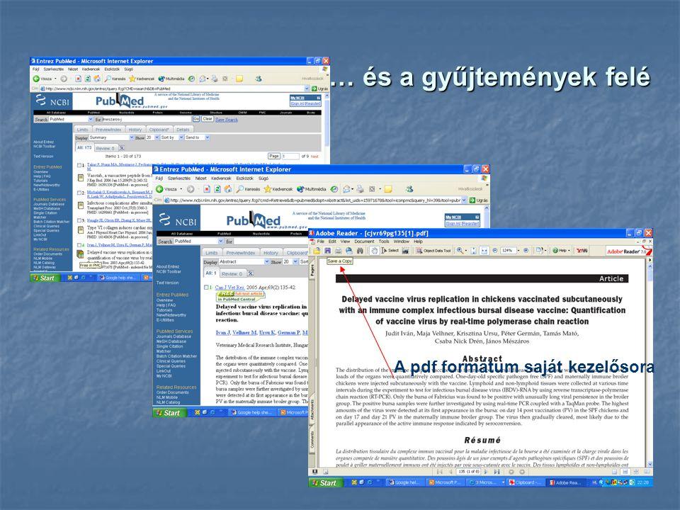 … és a gyűjtemények felé A pdf formátum saját kezelősora
