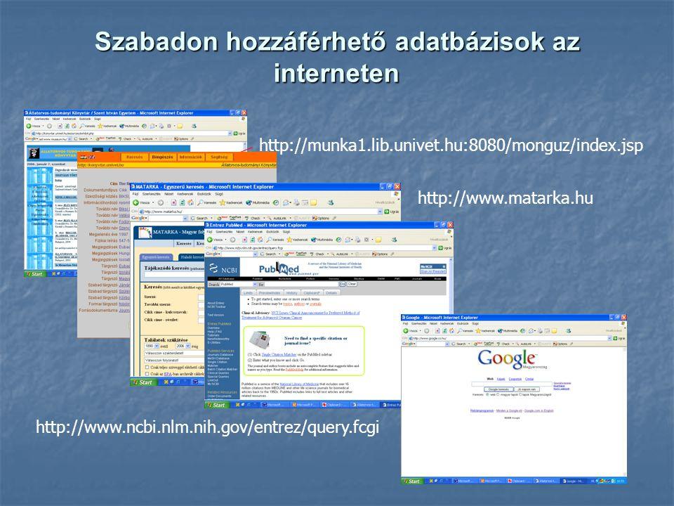 Szabadon hozzáférhető adatbázisok az interneten http://munka1.lib.univet.hu:8080/monguz/index.jsp http://www.matarka.hu http://www.ncbi.nlm.nih.gov/entrez/query.fcgi