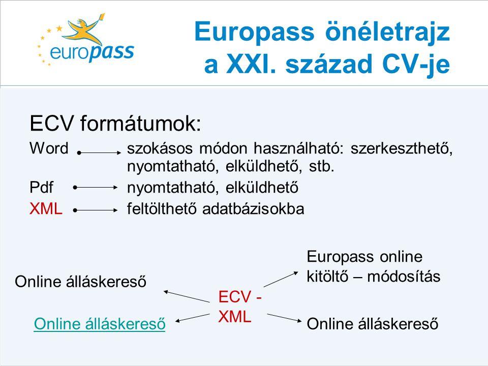 ECV formátumok: Word szokásos módon használható: szerkeszthető, nyomtatható, elküldhető, stb. Pdf nyomtatható, elküldhető XMLfeltölthető adatbázisokba