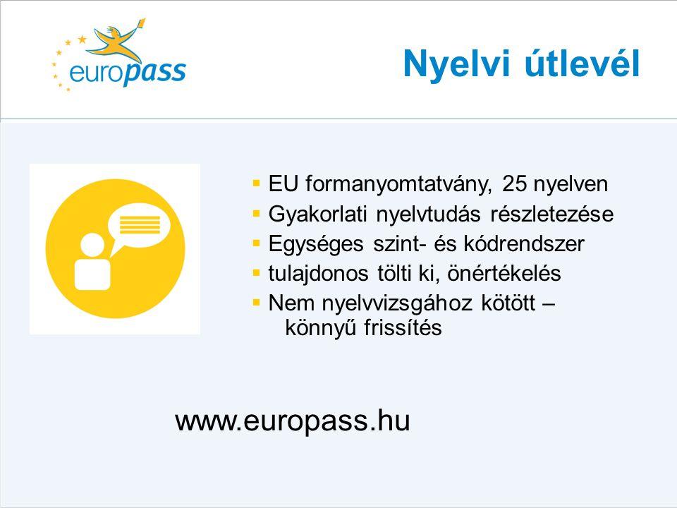 Nyelvi útlevél  EU formanyomtatvány, 25 nyelven  Gyakorlati nyelvtudás részletezése  Egységes szint- és kódrendszer  tulajdonos tölti ki, önértéke