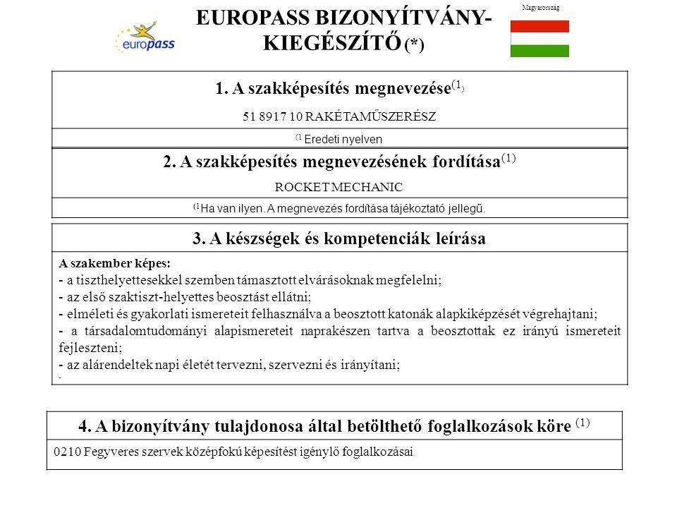 EUROPASS BIZONYÍTVÁNY- KIEGÉSZÍTŐ (*) Magyarország 1. A szakképesítés megnevezése (1 ) 51 8917 10 RAKÉTAMŰSZERÉSZ (1 Eredeti nyelven 2. A szakképesíté