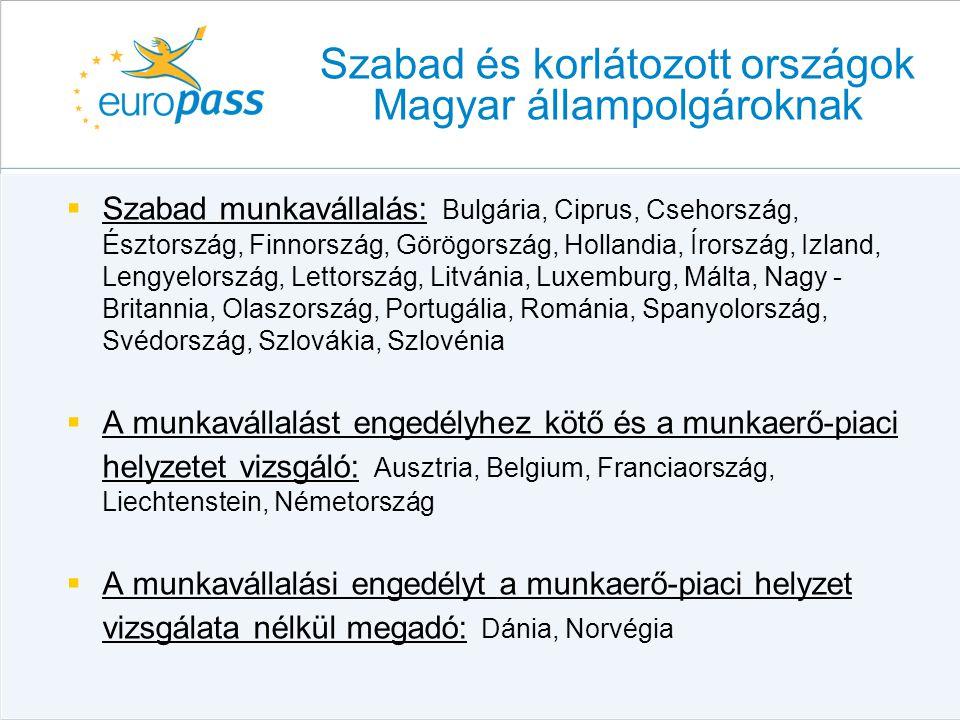  Szabad munkavállalás: Bulgária, Ciprus, Csehország, Észtország, Finnország, Görögország, Hollandia, Írország, Izland, Lengyelország, Lettország, Lit