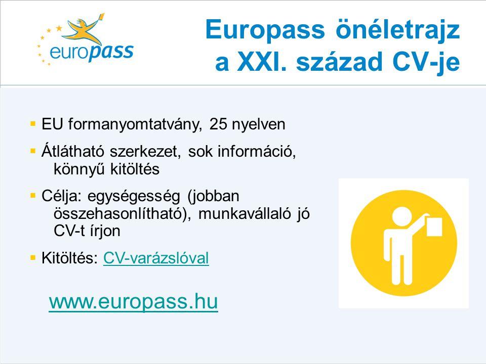 Europass önéletrajz a XXI. század CV-je  EU formanyomtatvány, 25 nyelven  Átlátható szerkezet, sok információ, könnyű kitöltés  Célja: egységesség