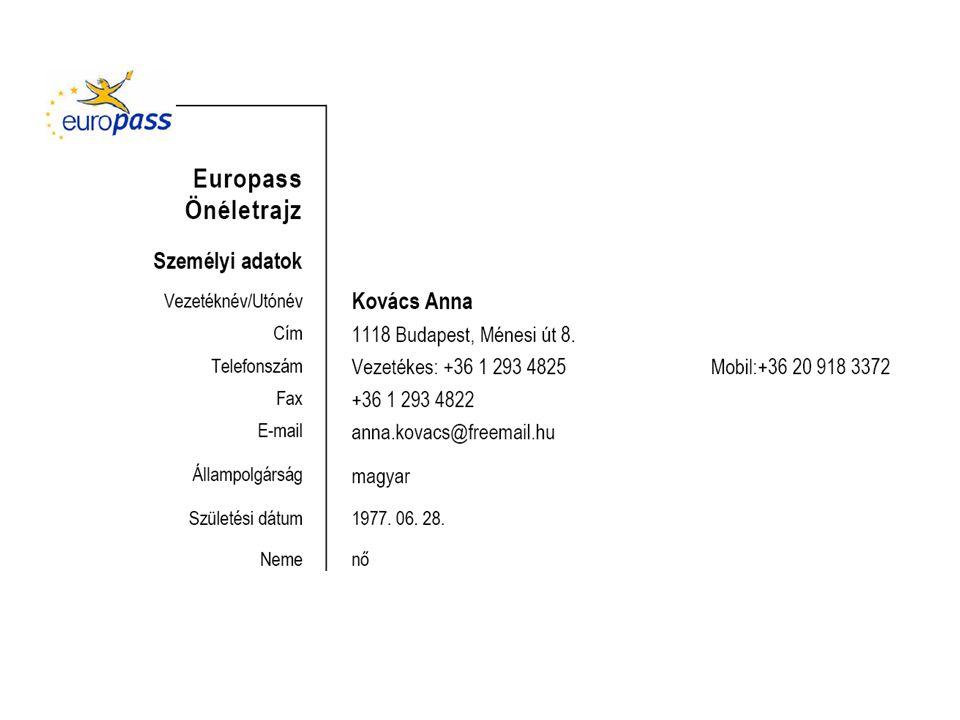 EUROPASS BIZONYÍTVÁNY- KIEGÉSZÍTŐ (*) Magyarország 1.