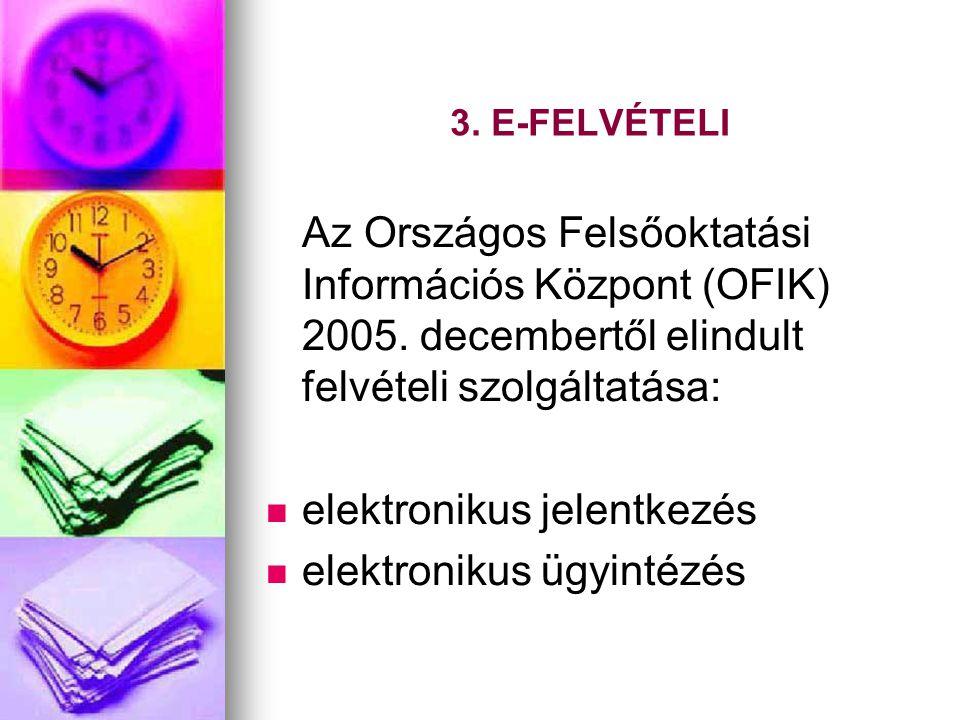 3. E-FELVÉTELI Az Országos Felsőoktatási Információs Központ (OFIK) 2005. decembertől elindult felvételi szolgáltatása:   elektronikus jelentkezés 