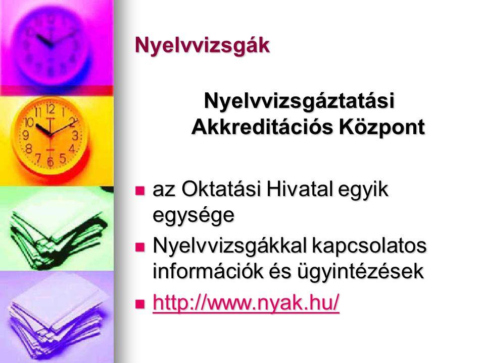 Nyelvvizsgák Nyelvvizsgáztatási Akkreditációs Központ  az Oktatási Hivatal egyik egysége  Nyelvvizsgákkal kapcsolatos információk és ügyintézések 