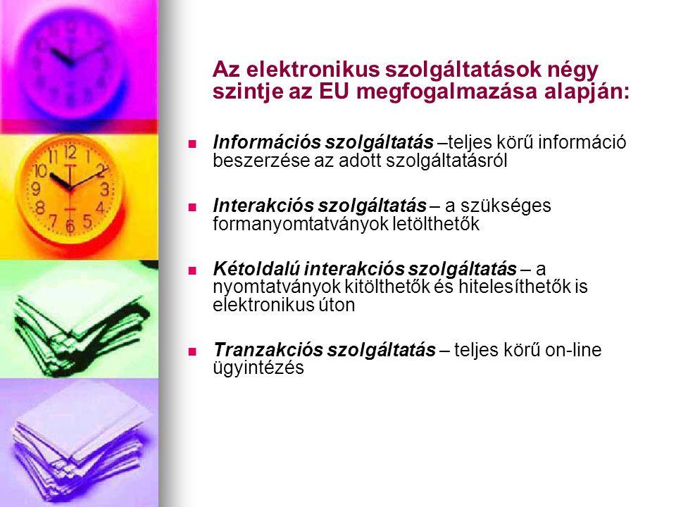 Az elektronikus szolgáltatások négy szintje az EU megfogalmazása alapján:   Információs szolgáltatás –teljes körű információ beszerzése az adott szo