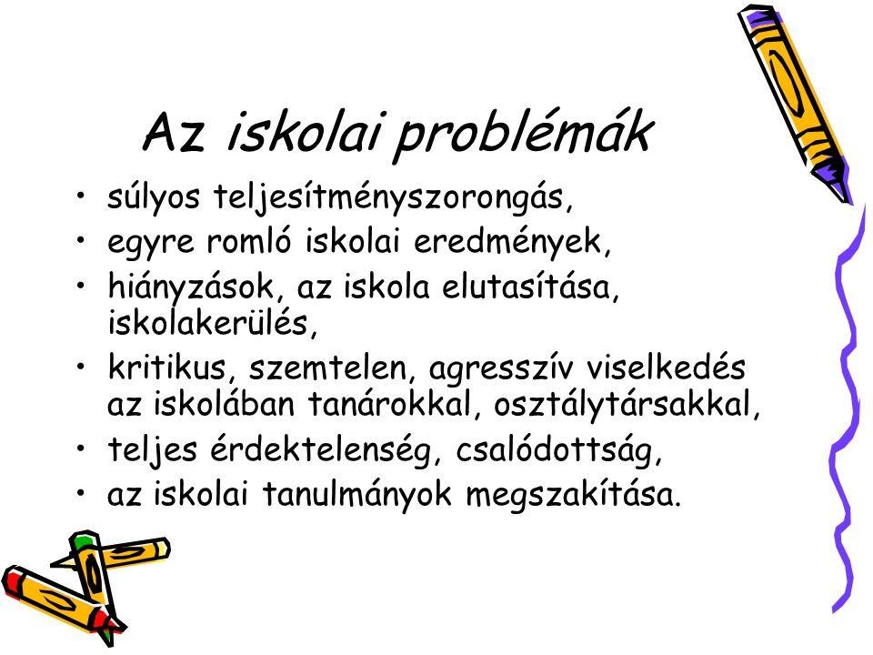 Az iskolai problémák •súlyos teljesítményszorongás, •egyre romló iskolai eredmények, •hiányzások, az iskola elutasítása, iskolakerülés, •kritikus, sze