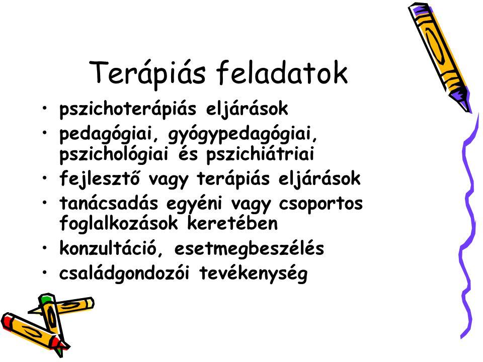 Terápiás feladatok •pszichoterápiás eljárások •pedagógiai, gyógypedagógiai, pszichológiai és pszichiátriai •fejlesztő vagy terápiás eljárások •tanácsa