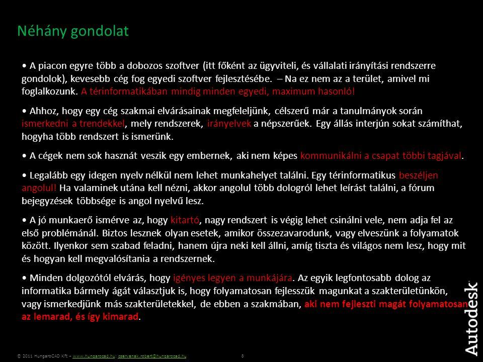 9 © 2011 HungaroCAD Kft – www.hungarocad.hu; cservenak.robert@hungarocad.huwww.hungarocad.hucservenak.robert@hungarocad.hu Köszönöm megtisztelő figyelmüket.