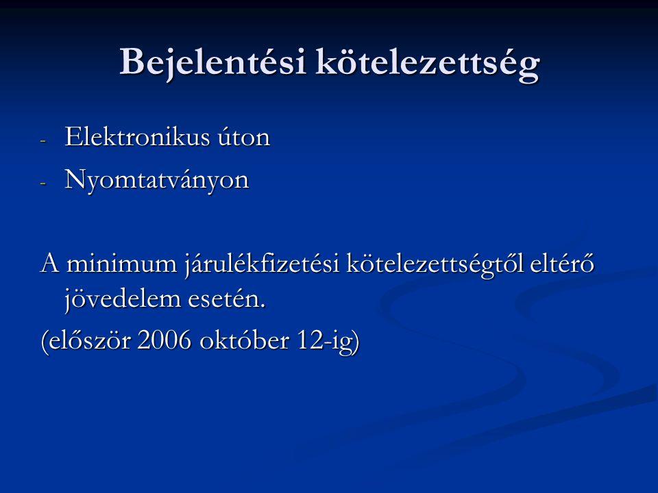 Bejelentési kötelezettség - Elektronikus úton - Nyomtatványon A minimum járulékfizetési kötelezettségtől eltérő jövedelem esetén. (először 2006 októbe