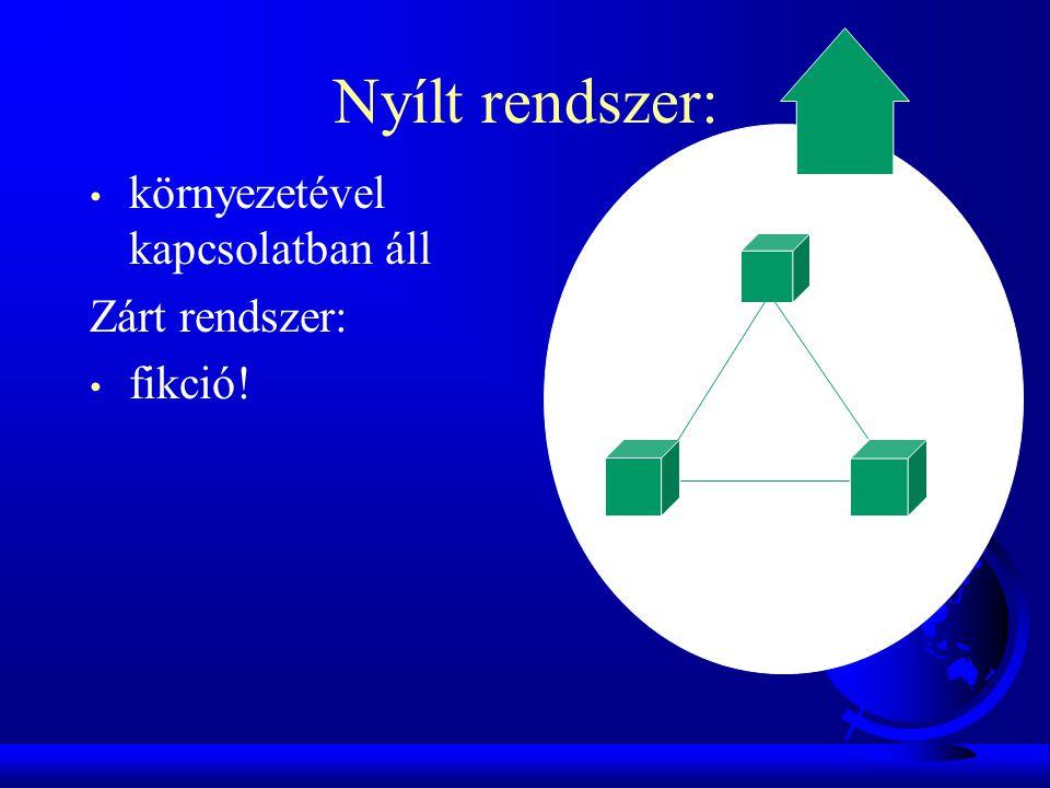 Nyílt rendszer: • környezetével kapcsolatban áll Zárt rendszer: • fikció!