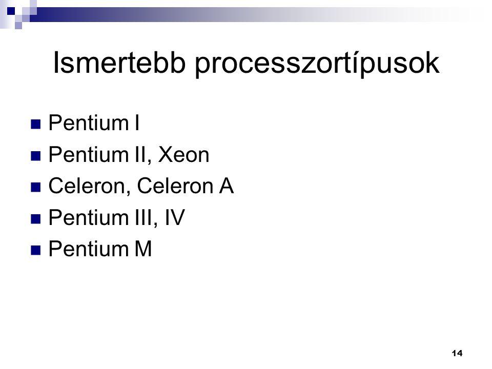 14 Ismertebb processzortípusok  Pentium I  Pentium II, Xeon  Celeron, Celeron A  Pentium III, IV  Pentium M