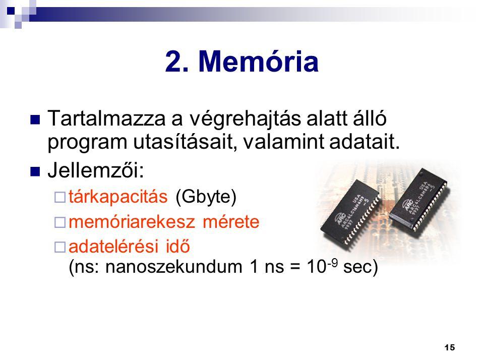 15 2.Memória  Tartalmazza a végrehajtás alatt álló program utasításait, valamint adatait.