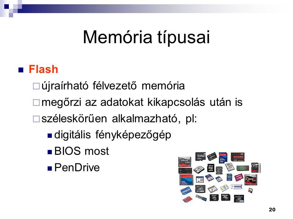 20 Memória típusai  Flash  újraírható félvezető memória  megőrzi az adatokat kikapcsolás után is  széleskörűen alkalmazható, pl:  digitális fényképezőgép  BIOS most  PenDrive