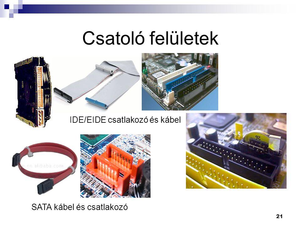 21 Csatoló felületek SATA kábel és csatlakozó IDE/EIDE csatlakozó és kábel