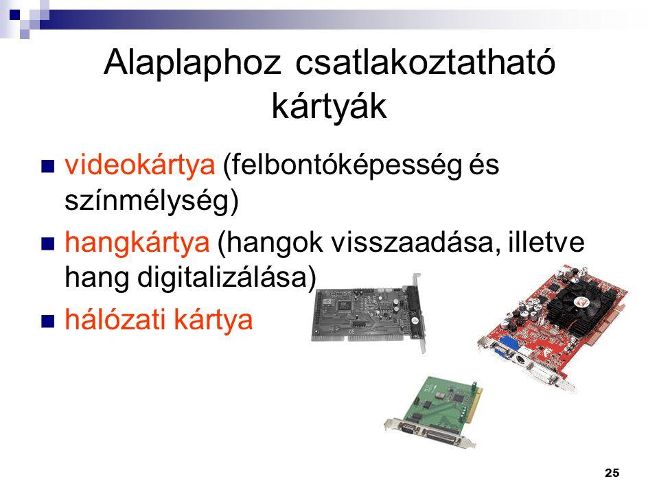 25 Alaplaphoz csatlakoztatható kártyák  videokártya (felbontóképesség és színmélység)  hangkártya (hangok visszaadása, illetve hang digitalizálása)  hálózati kártya