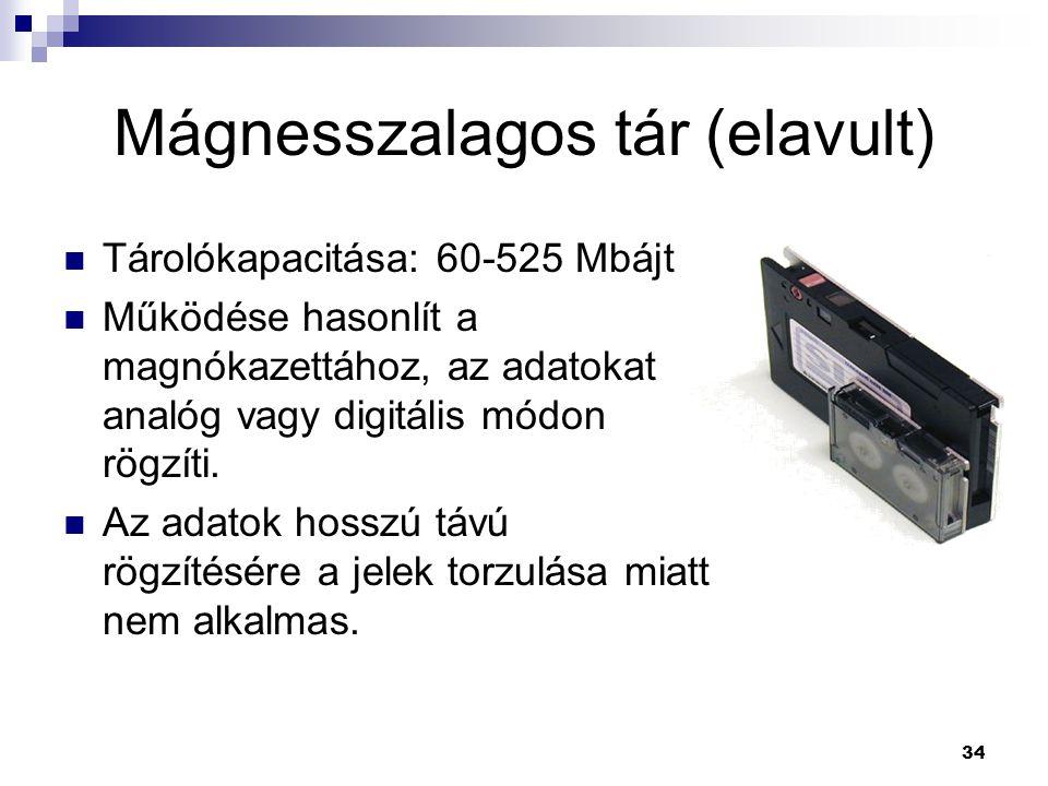 34 Mágnesszalagos tár (elavult)  Tárolókapacitása: 60-525 Mbájt  Működése hasonlít a magnókazettához, az adatokat analóg vagy digitális módon rögzíti.