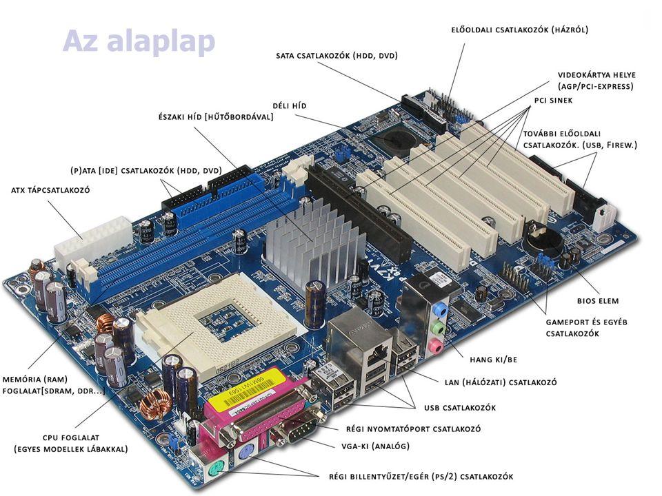 9 Alaplap  Általában egy 25x30cm- es műanyaglap melyen több száz elektronikus áramkör és több tucat csatlakozóhely található.