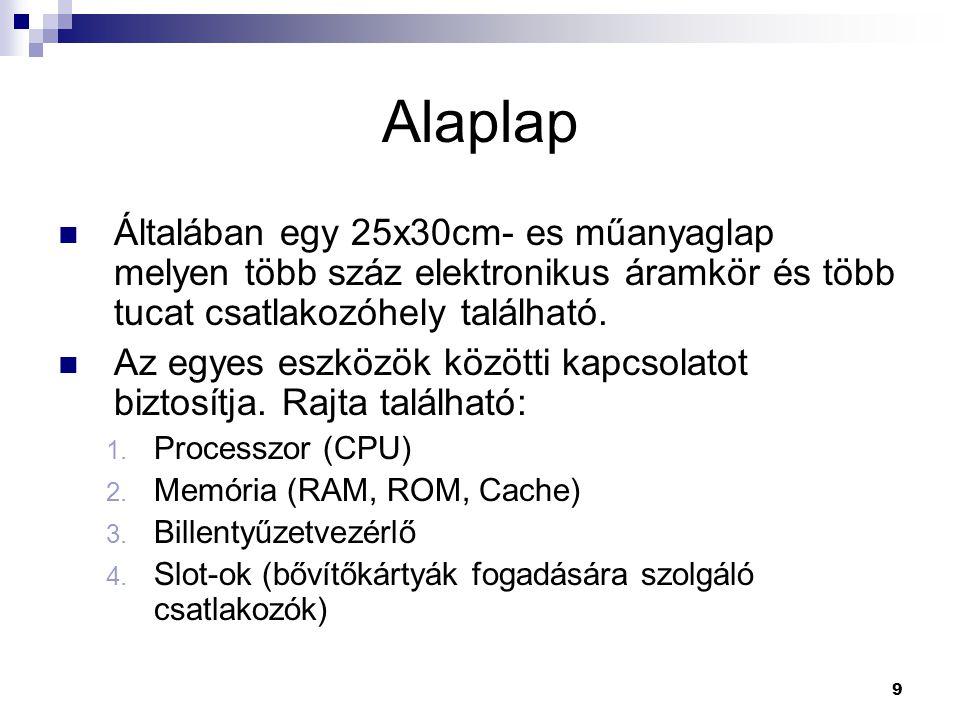 40 Optikai tárak  CD-ROM, CD-R, CD-RW  Tároló kapacitás:  650MB - 74min  700MB - 80min  Spirálban ír, ezért az adat helye:  perc:másodperc:századmásodperc