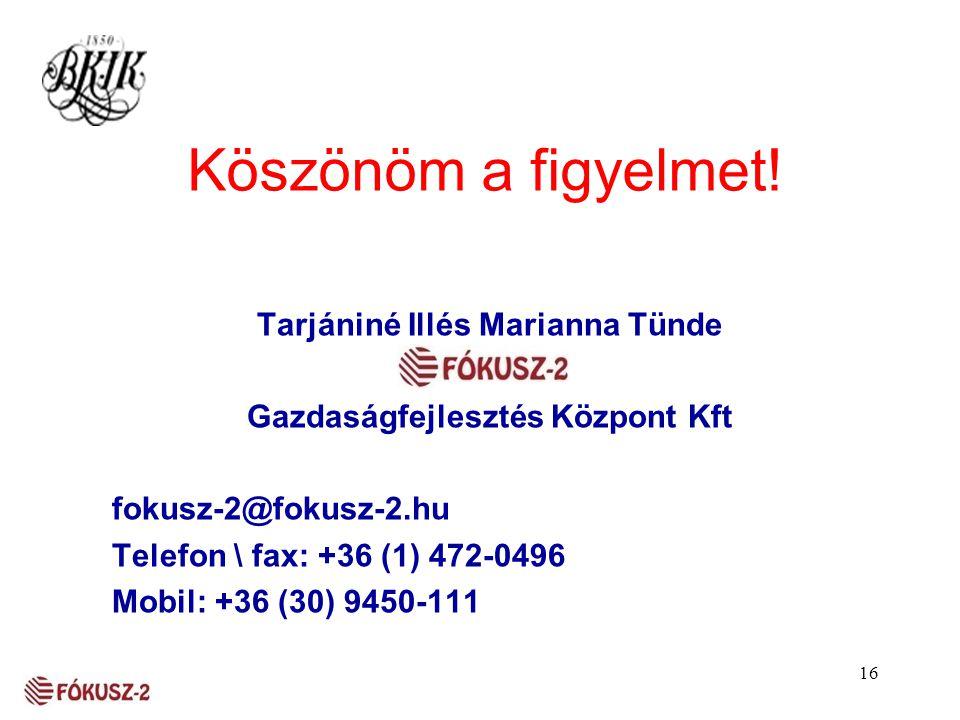 16 Köszönöm a figyelmet! Tarjániné Illés Marianna Tünde Gazdaságfejlesztés Központ Kft fokusz-2@fokusz-2.hu Telefon \ fax: +36 (1) 472-0496 Mobil: +36