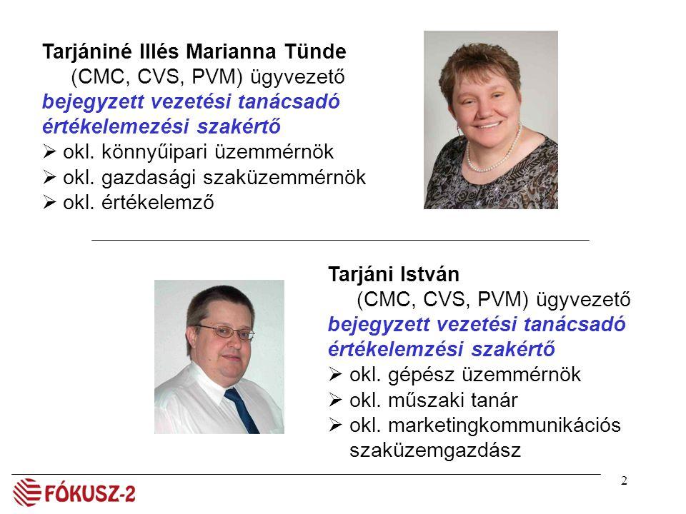 2 Tarjániné Illés Marianna Tünde (CMC, CVS, PVM) ügyvezető bejegyzett vezetési tanácsadó értékelemezési szakértő  okl. könnyűipari üzemmérnök  okl.