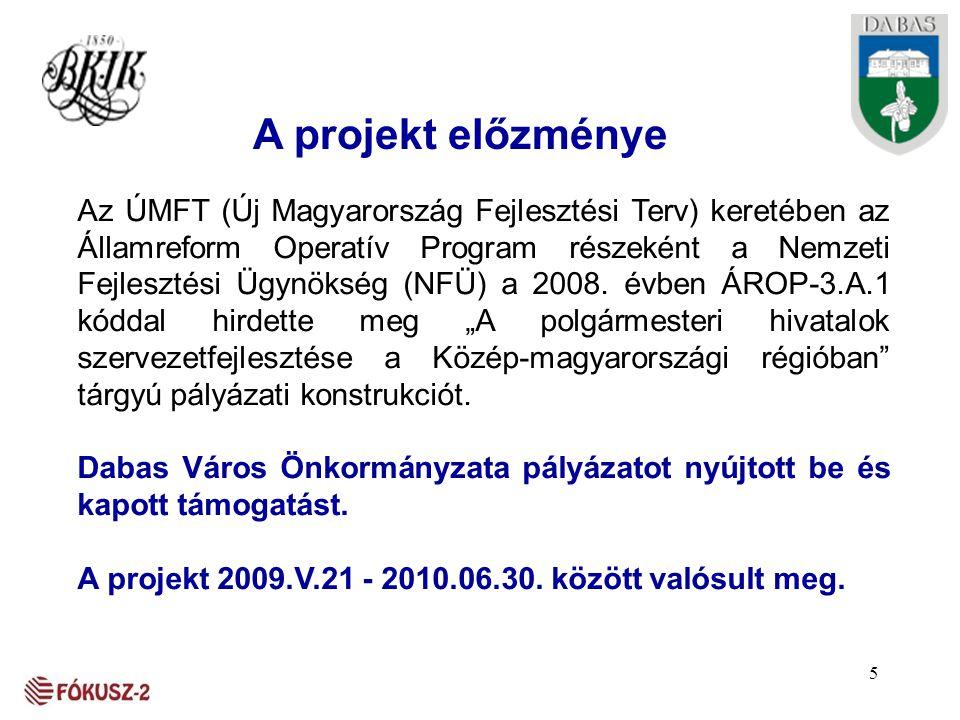 A projekt előzménye Az ÚMFT (Új Magyarország Fejlesztési Terv) keretében az Államreform Operatív Program részeként a Nemzeti Fejlesztési Ügynökség (NF