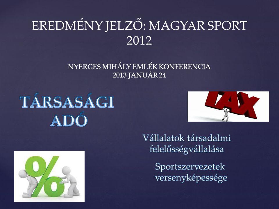 EREDMÉNY JELZŐ: MAGYAR SPORT 2012 NYERGES MIHÁLY EMLÉK KONFERENCIA 2013 JANUÁR 24