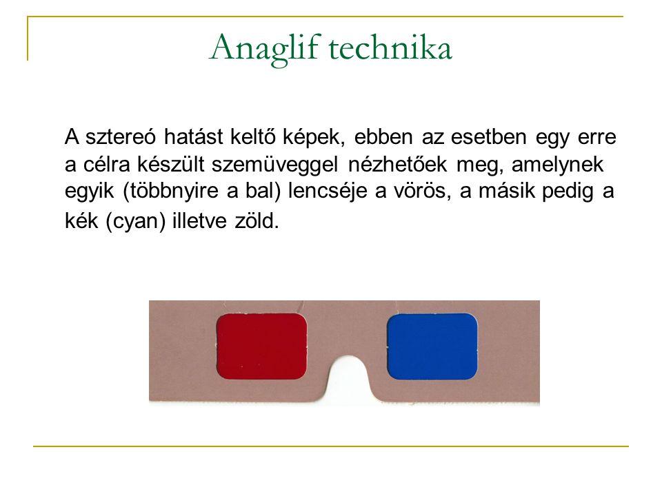 Anaglif technika A sztereó hatást keltő képek, ebben az esetben egy erre a célra készült szemüveggel nézhetőek meg, amelynek egyik (többnyire a bal) lencséje a vörös, a másik pedig a kék (cyan) illetve zöld.