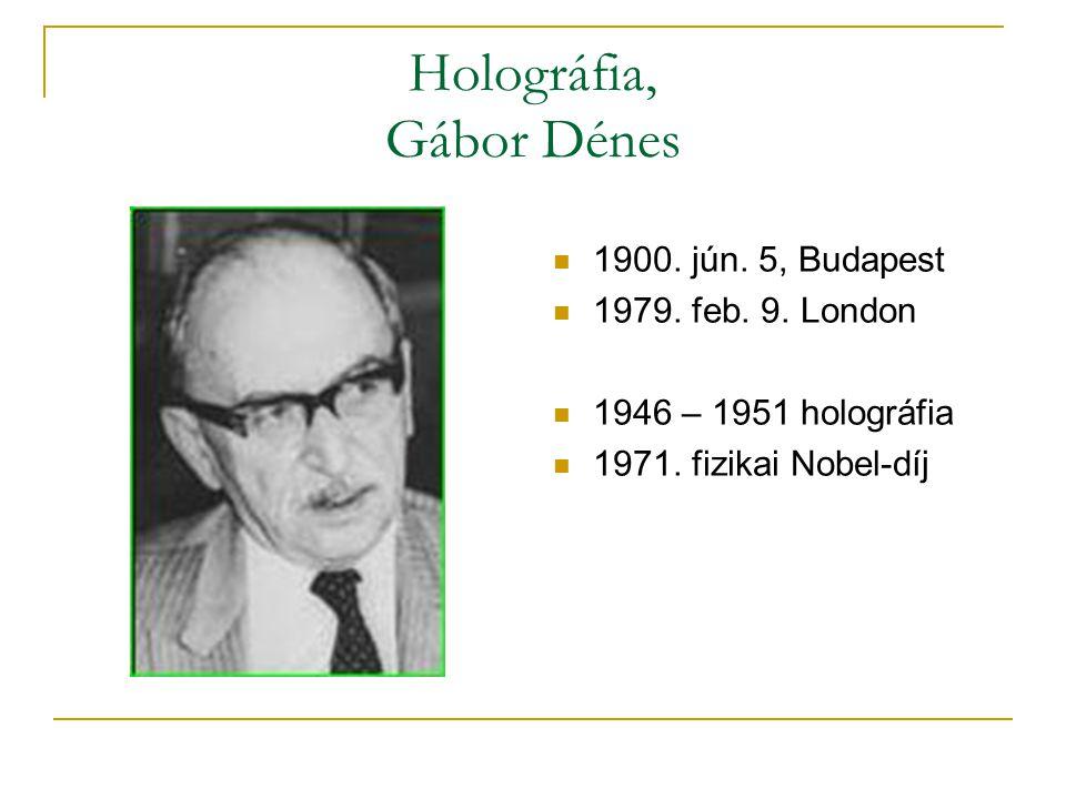 A holográfia elve  Interferencia hullámok létrehozása, referenciafénnyel.