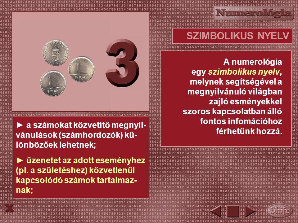 SZIMBOLIKUS NYELV A numerológia egy szimbolikus nyelv, melynek segítségével a megnyilvánuló világban zajló esményekkel szoros kapcsolatban álló fontos infomációhoz férhetünk hozzá.