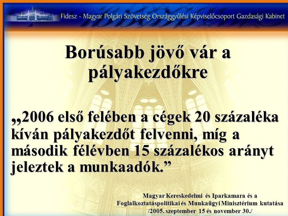 """Borúsabb jövő vár a pályakezdőkre """" 2006 első felében a cégek 20 százaléka kíván pályakezdőt felvenni, míg a második félévben 15 százalékos arányt jeleztek a munkaadók. Magyar Kereskedelmi és Iparkamara és a Foglalkoztatáspolitikai és Munkaügyi Minisztérium kutatása /2005."""