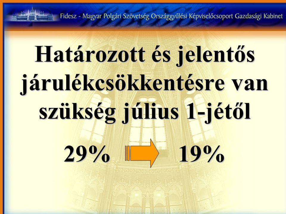 Határozott és jelentős járulékcsökkentésre van szükség július 1-jétől 29%19%