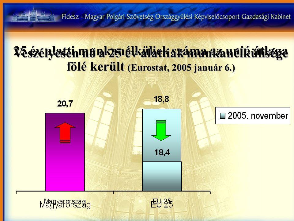 25 év alatti munkanélküliek száma az unió átlaga fölé került (Eurostat, 2005 január 6.) Veszélyesen nő a 25 év alattiak munkanélkülisége