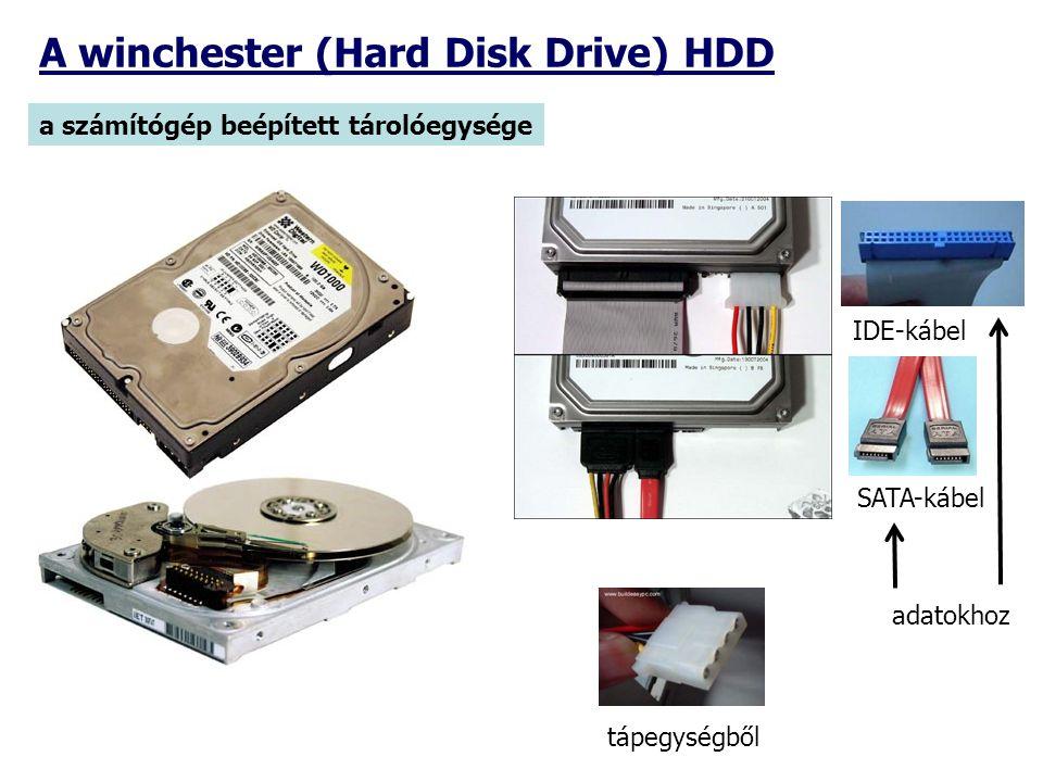 A winchester (Hard Disk Drive) HDD a számítógép beépített tárolóegysége IDE-kábel tápegységből SATA-kábel adatokhoz