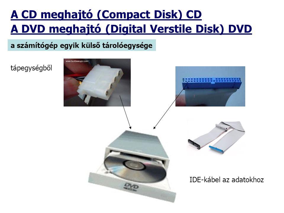 A CD meghajtó (Compact Disk) CD a számítógép egyik külső tárolóegysége A DVD meghajtó (Digital Verstile Disk) DVD tápegységből IDE-kábel az adatokhoz