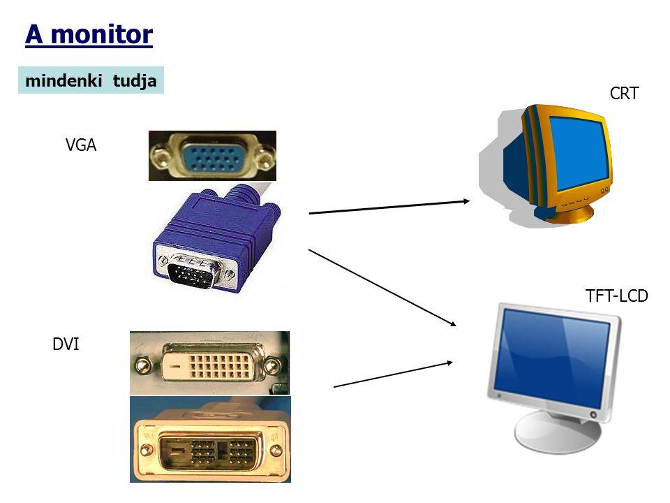 A monitor mindenki tudja VGA DVI CRT TFT-LCD