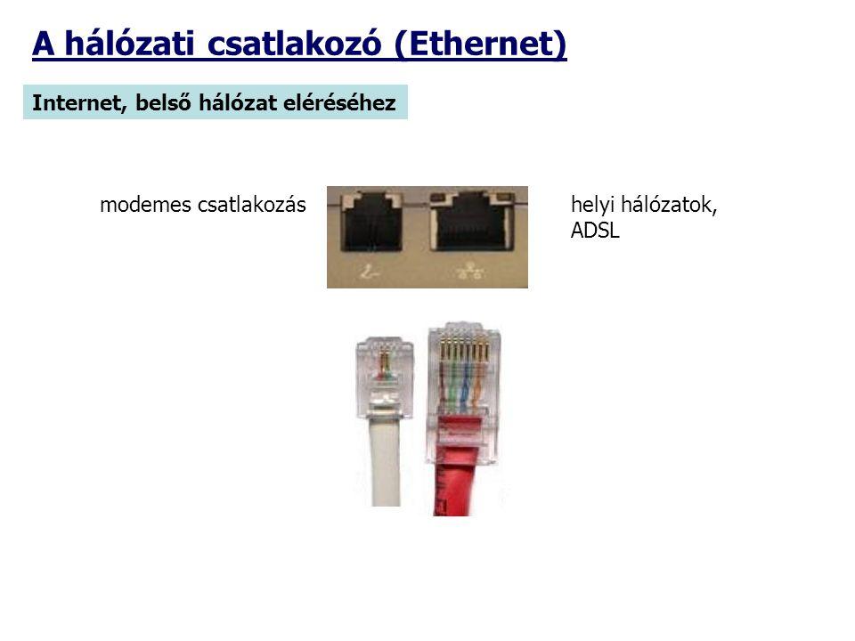 A hálózati csatlakozó (Ethernet) Internet, belső hálózat eléréséhez helyi hálózatok, ADSL modemes csatlakozás