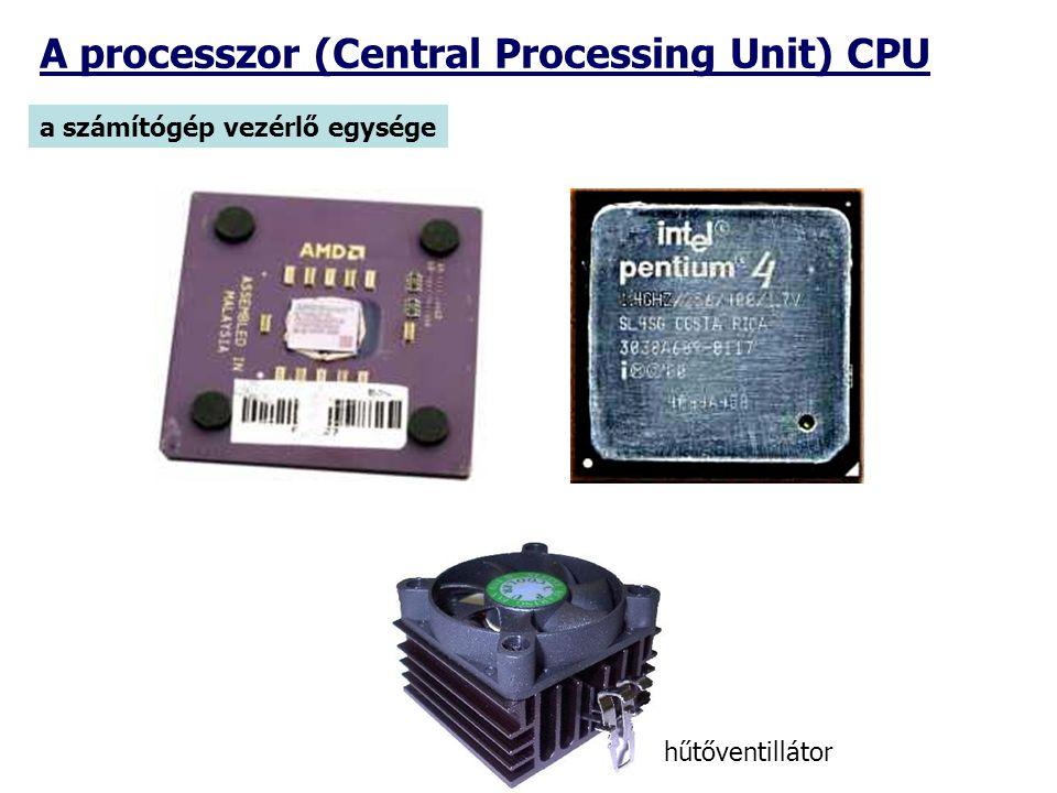 a számítógép vezérlő egysége A processzor (Central Processing Unit) CPU hűtőventillátor