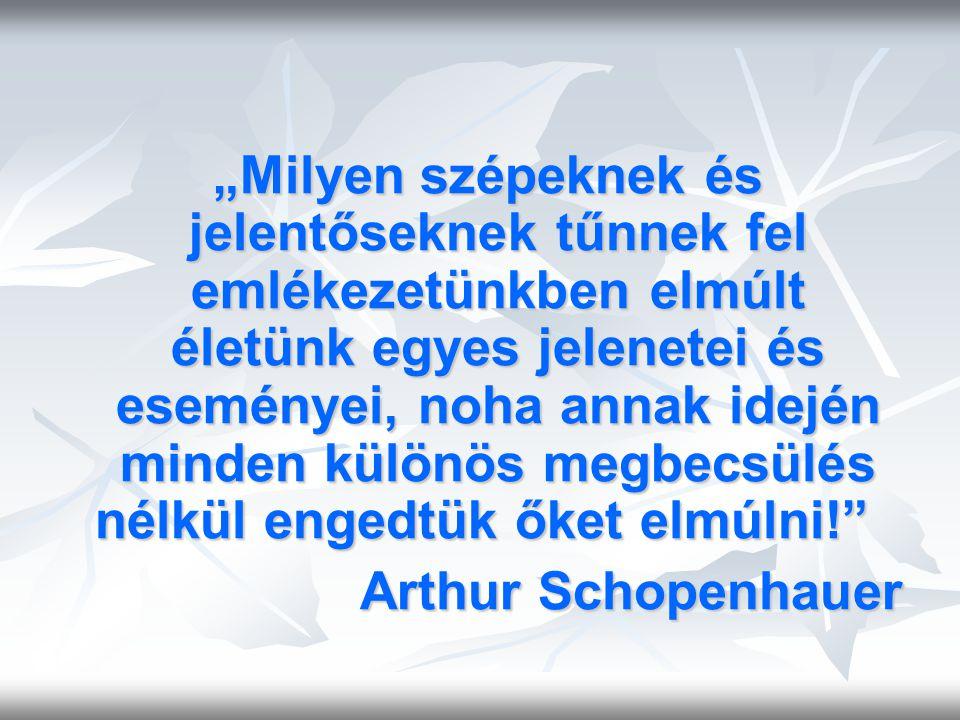 """""""Milyen szépeknek és jelentőseknek tűnnek fel emlékezetünkben elmúlt életünk egyes jelenetei és eseményei, noha annak idején minden különös megbecsülés nélkül engedtük őket elmúlni! Arthur Schopenhauer"""