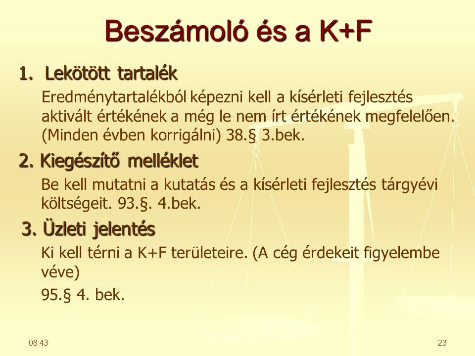 Beszámoló és a K+F 1.Lekötött tartalék Eredménytartalékból képezni kell a kísérleti fejlesztés aktivált értékének a még le nem írt értékének megfelelően.
