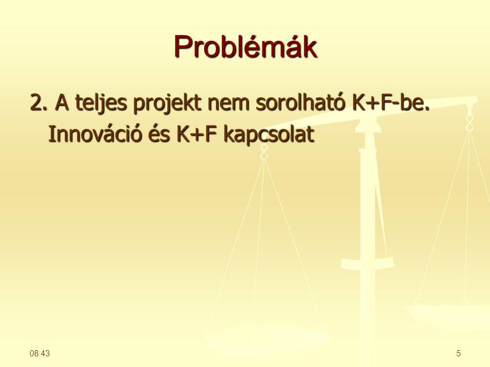 Problémák 2. A teljes projekt nem sorolható K+F-be. Innováció és K+F kapcsolat 08:455