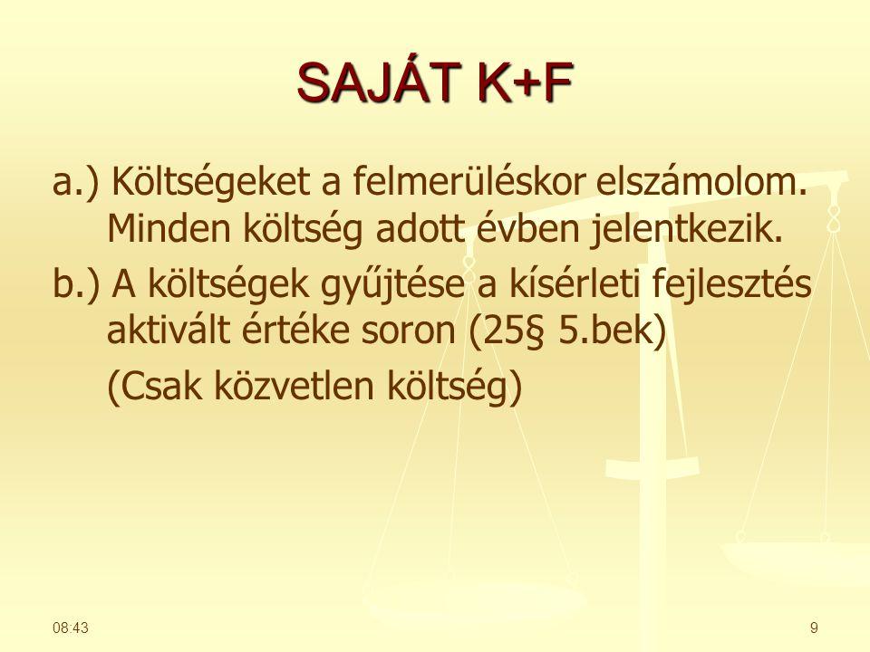 SAJÁT K+F a.) Költségeket a felmerüléskor elszámolom.