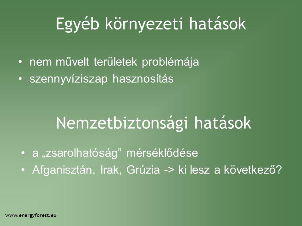 """Egyéb környezeti hatások •nem művelt területek problémája •szennyvíziszap hasznosítás www.energyforest.eu Nemzetbiztonsági hatások •a """"zsarolhatóság"""""""