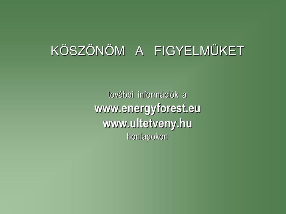 KÖSZÖNÖM A FIGYELMÜKET további információk a www.energyforest.eu www.ultetveny.hu honlapokon